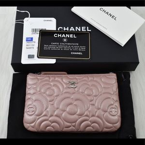 🌸 CHANEL Camellia O Case Small Pouch Goatskin NEW
